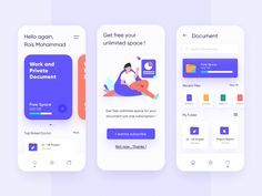 Hi,It`s a cloud document app ui kit. You can keep your document safely with this app. Easily customizable and appealing looks. Android App Design, App Ui Design, Interface Design, User Interface, Design Web, Design Layouts, Flat Design, Dashboard Design, Graphic Design