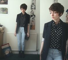 Never Meant (by Ashleigh F.) - http://lookbook.nu/look/4830989-Polka-Dot-Blouse-Topshop-Blazer-Jeans-Boots