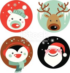 Christmas cartoons royalty-free christmas cartoons stock vector art & more images of animal Christmas Cartoons, Christmas Characters, Christmas Clipart, Christmas Tag, Christmas Design, Christmas Printables, Christmas Crafts, Christmas Decorations, Xmas