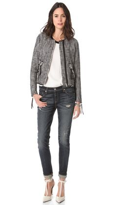 tweed jacket, tee, jeans, love the shoes Boucle Jacket, Tweed Jacket, Rebecca Taylor, All About Fashion, Your Style, Tees, How To Wear, Pants, Jackets