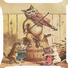 """Retro vintage Victorian cat boy girl dance violin music party Cushion Cover 18"""""""