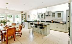 open plan kitchen diner in a victorian house