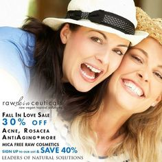 """Raw Vegan Skin Care + Cosmetics storewide sale! Save 30% with code """"rawbeauty"""" or 40% storewide by signing up on our website...for 4 days only RawSkinCeuticals leaders of Natural solutions offers raw vegan products and solutions for acne, eczema, rosacea, Anti aging and mica free cosmetics including our award winning BB Creme Foundation.."""