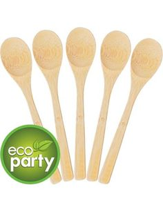 """25ct 6/"""" Wooden Compostable Cutlery Spoons"""