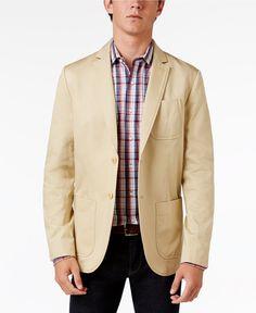 Tommy Hilfiger Men's Carolina Cotton Sport Coat color:Davis Khaki