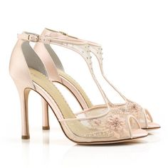 Paloma Beaded, Lace Blush Wedding Shoes by Bella Belle. Romantic wedding shoes with vintage styling in a fabulous blush shade.