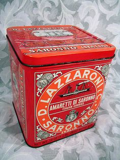 $13.99 Vintage D. Lazzaroni & C. Saronno Milano Biscotti Tin Box Made in Italy
