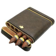 COHIBA Coffee Cowhide Leather Wood 6 Tube Travel Cigar Case Humidor W Humidifier