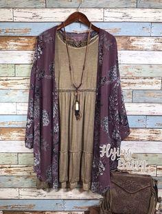 Plus Size Cardigan Kimono Purple Haze Floral Print