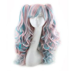 Similler Synthetic Purple Mixed Pink Long Curly Cosplay Wigs For Women 2 Clip-On Tails Heat Resistant Pigtail