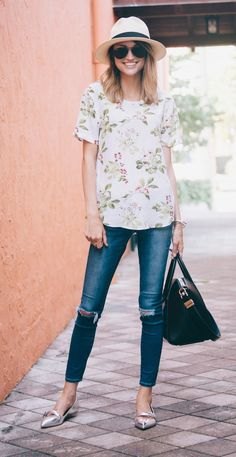 I love the colors in this Floral Blouse. I'd like to try some slightly distressed skinny jeans