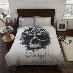 Rapport Gothic Sacred Heart Multi Skull Effect Duvet Set Cotton Rich Bedding King Size Duvet Covers, Single Duvet Cover, Bed Duvet Covers, Grey Duvet Set, Duvet Sets, Duvet Cover Sets, Double Bed Covers, Grey Furniture, Furniture Design