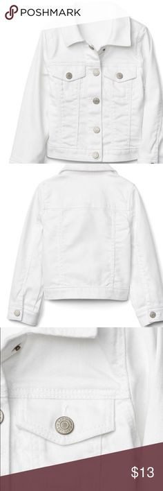Gap kids White Jean jacket in size xs This jacket is in great condition bright white in color with no signs of real wear .... my daughter used it with cute little summer dresses ... great little jacket to dress up little summer dresses ... was one of my fav pieces 💕 GAP Jackets & Coats Jean Jackets