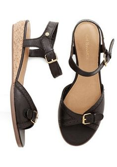 Glad to Be Buckle Sandal in Black, #ModCloth