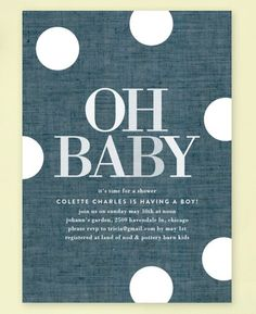 Oh Baby Dots Baby Shower Invitations by Baumbirdy for Minted.com
