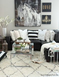 Dark couch lightened up-46 Amazing Small Living Rooms Ideas With Farmhouse Style 27 - TOPARCHITECTURE