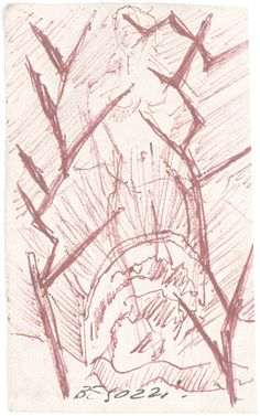 E. Besozzi pitt. s.d. (1957) Nudo biro rossa su carta cm. 8,2x5,7 arc. 513