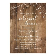 Rustic Brown Wood & Light Strings Rehearsal Dinner Card - string lights gifts ideas cyo personalize