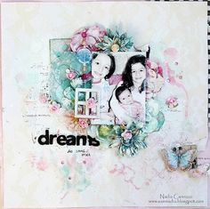 Scraps of Elegance Artist Kits - layout created by Nadia Cannizzo with the Sweet Summer Nights kit. Style Scrapbook, Scrapbook Albums, Scrapbook Cards, Mixed Media Scrapbooking, Scrapbooking Layouts, Marion Smith, Mixed Media Canvas, Layout Inspiration, Paper Crafts
