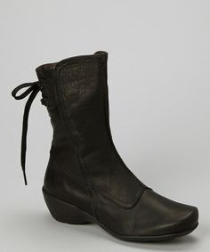 Take a look at this Black Erica Wedge Boot by Antia Shoes on #zulily today!
