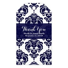 Navy Blue White Damask Vintage Wedding Event Favor Gift Tags - bridal shower gifts ideas wedding bride