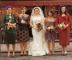 leilacohan:    fuckyeahchristinahendricks:oncewed  Her dress!  Those bouquets!  Vintage non-matching bridesmaids!!!    Is it possible that one of Christina Hendricks' bridesmaids (second from the right) was Kelsi from High School Musical? Could the world be so strange/wonderful?