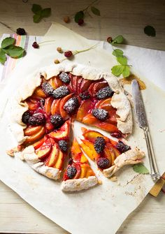 peach and blackberry galette