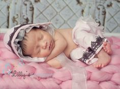 Newborn Props Baby Girl Bonnet Baby Clothes by CottonBabyBonnets, $45.00