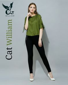 #_catwilliam  Www.catwilliam.com Cheap Blouses, Green Blouse, Indian Designer Wear, Black Jeans, How To Make, How To Wear, Pants, Fashion, Moda