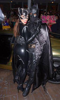 Kim Kardashian & Kanye West - Batman and Catwoman Halloween Party Shiny Gold Lambo