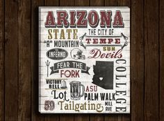 ASU art! Perfect present for graduation! I want this college print for above the bar ! Arizona State University ASU Subway Art Work by DesignerCanvases, $30.00