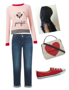 """""""pink anda red💓"""" by merlyncdg on Polyvore featuring Miss Selfridge, Converse, Kate Spade and GURU"""