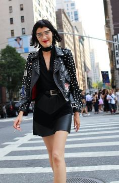 An LPA leather jacket spotted on the street at New York Fashion Week. Photographed by Phil Oh.