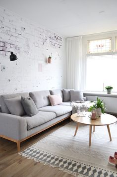 White Brick Wall, Grey and Pink Colors