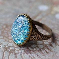 Blue Opal Ring by ElvesGarden on Etsy, $22.00