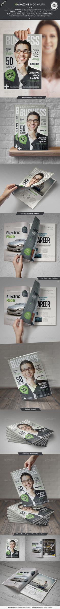 Magazine Mock-Up Set #journalmockup #magazinemockup Download: http://graphicriver.net/item/magazine-mockup-set/5495819?ref=ksioks