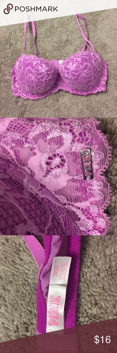 Victoria's Secret PINK Pink Lace Push Up Bra Victoria's Secret PINK Pink Lace Push Up Bra, great condition, size 36D. Bundle and save! PINK Victoria's Secret Intimates & Sleepwear Bras