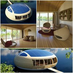 The ultimate passive house WaterNest 100 by Giancarlo Zema - design ideas Floating Architecture, Futuristic Architecture, Architecture Concept Drawings, Art And Architecture, Bubble Tent, Santorini Villas, Shelter Design, Passive House, Unusual Homes
