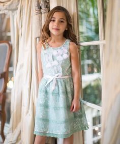 Sage Lace Butterfly Dress - Toddler & Girls