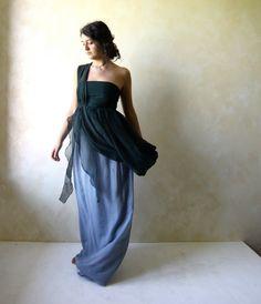 Alternative wedding dress Bridal gown Blue wedding by LoreTree
