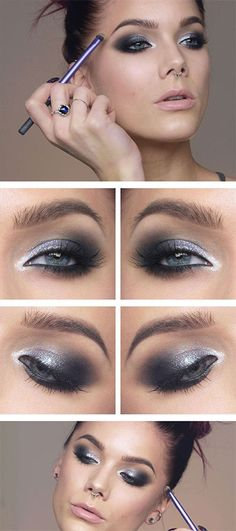 Linda Hallberg silver and black eye makeup idea Linda Hallberg Silber und blaues Auge Make-up Black Eye Makeup, Grey Makeup, Smokey Eye Makeup, Purple Makeup, Black And Silver Eye Makeup, Sultry Makeup, Eyeliner Makeup, Linda Hallberg, Makeup Tips