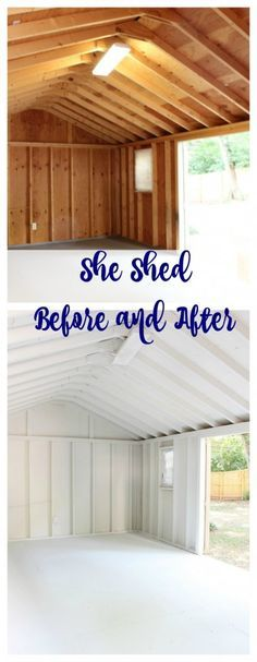 One Room Challenge She Shed - Week 2 She Shed painted interior. She Shed painted interior before and after. Bright white paint - Nubulous by Sherwin Williams. One Room Challenge She Shed – Week 2 Backyard Sheds, Outdoor Sheds, Backyard Retreat, Garden Sheds, Garden Tools, Big Garden, Shed Makeover, Backyard Makeover, Craft Shed