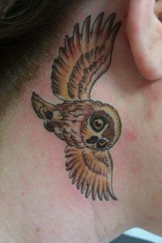 Ear Owl Tattoo Design
