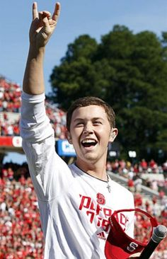 Scotty McCreery, Season 10 winner of American Idol and current NC State student, shows his Wolfpack pride! (2012)