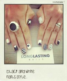 Black and white nails style