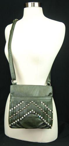 Classic Style Leather Cross Body Bag Enclosure Zipper Pocket DarkGreen