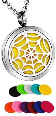 Amazon.com: HooAMI Spider Web Aromatherapy Essential Oil Diffuser Necklace Stainless Steel Locket Pendant: Home & Kitchen