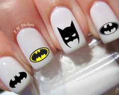 Batman Nail Art Stickers Transfers Decals Set Of 52 Cute Summer Nail Designs, Cute Summer Nails, Summer Toenails, Spring Nails, Nail Art Stickers, Nail Decals, Batman Nail Art, Skull Nail Art, Superhero Nails