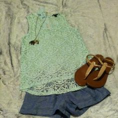 Mint green Forever 21 lace blouse Super pretty blouse. Like new. Blouse only! Forever 21 Tops Blouses