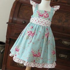 Beautiful Aqua Rose Dress  Sister Dresses by OllieBeans on Etsy, $58.00